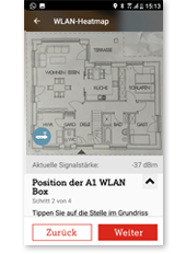 WLAN Manager App - Position der WLAN Box