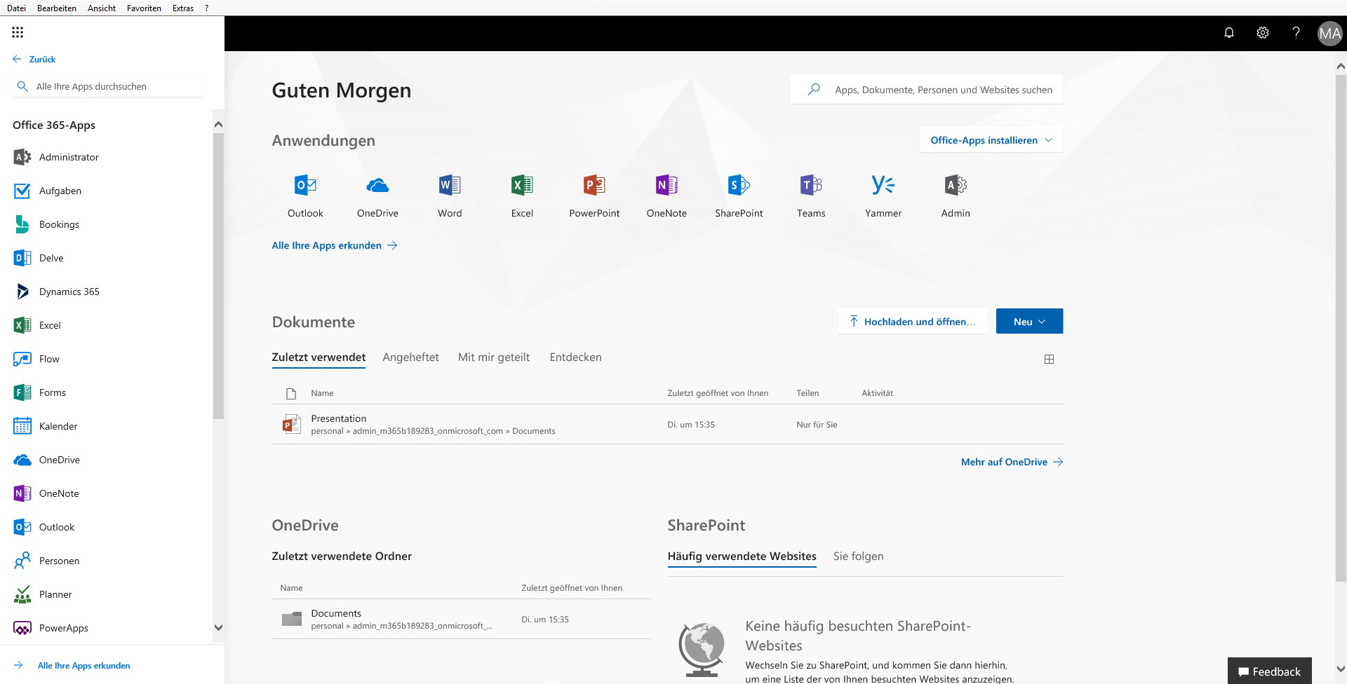 Office 365 Startseite