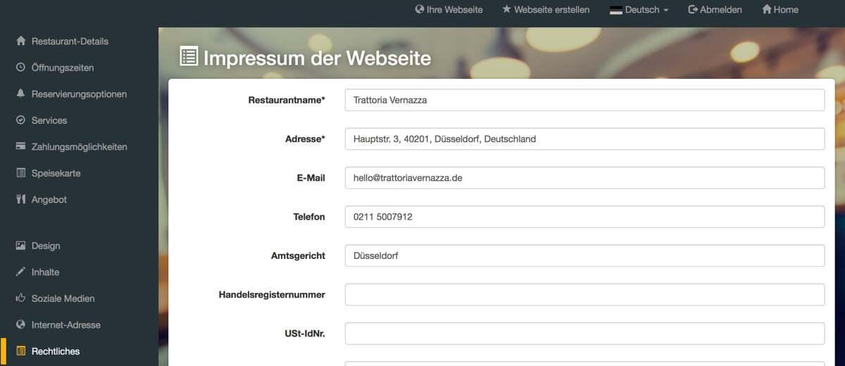 Screenshot DISH Website Builder Impressum erstellen