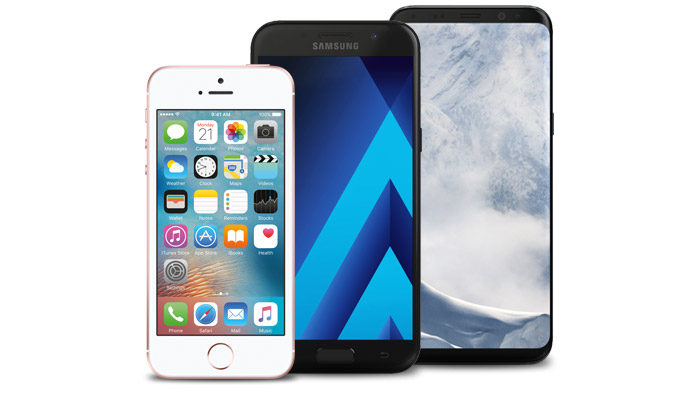 iPhone SE, Samsung A3 2017, Samsung Galaxy S8
