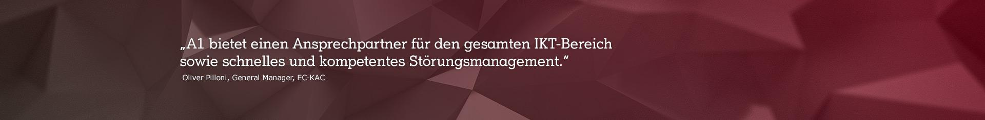 """abstraktes Bild mit Zitat """"A1 bietet einen Ansprechpartner für den gesamten IKT-Bereich sowie schnelles und kompetentes Störungsmanagement."""""""