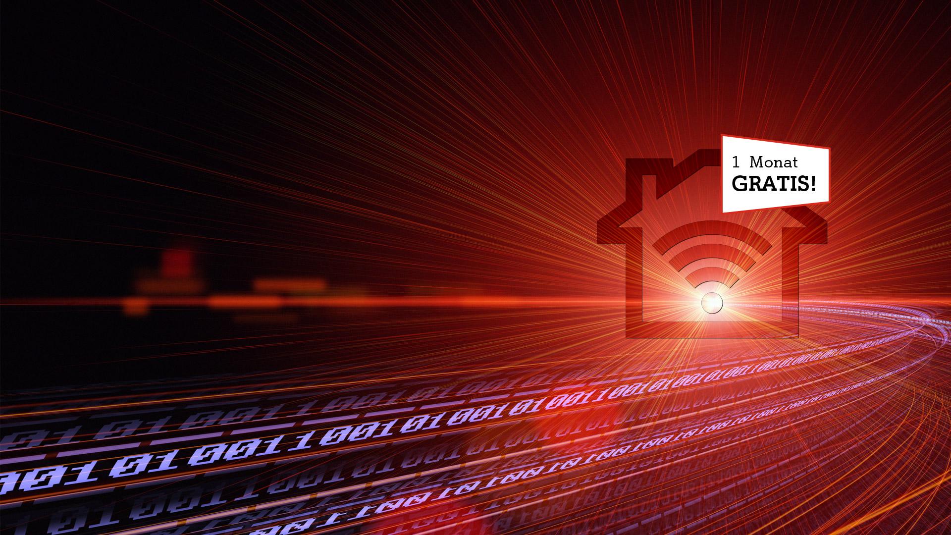 Glasfaser-Tunnel mit festnetz-Internet-Icon