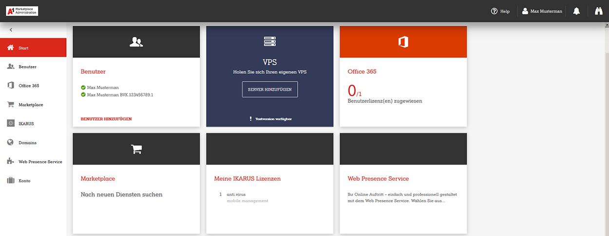 A1 Marketplace Admin Portal Startseite