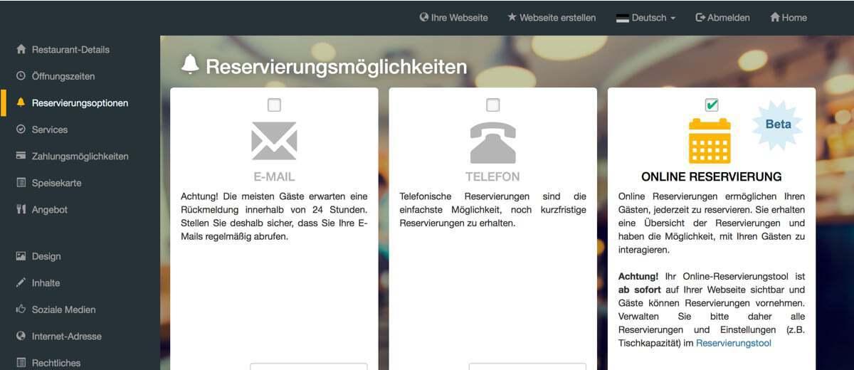 Screenshot DISH Website Builder Reservierungstool