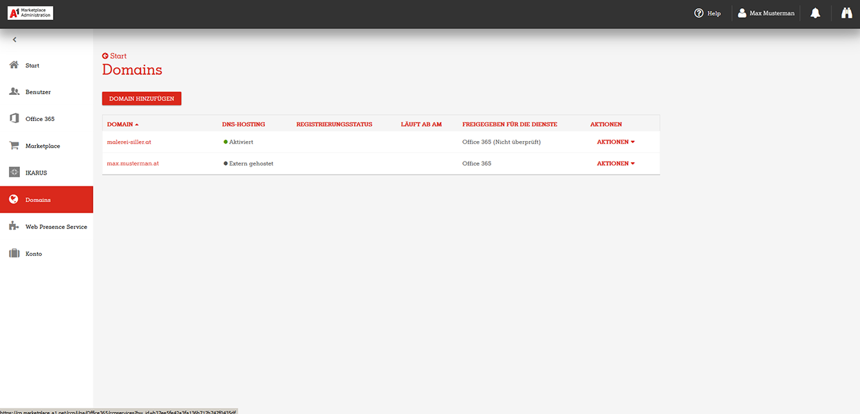 A1 Marketplace Admin Portal Domains