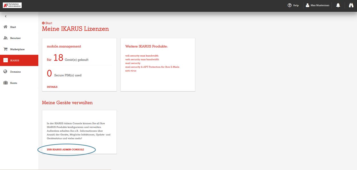 A1 Marketplace Admin Portal Ikarus