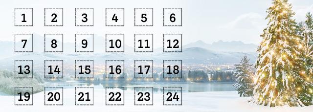 Adventkalender mit verschneitem Landschaftsbild