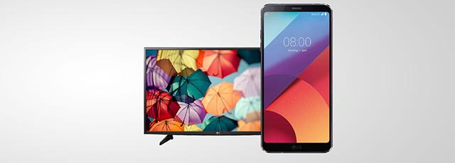 LG G6 Smartphone mit LG TV auf grauem Hintergrund