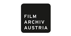 weißer Schriftzug Filmarchiv Austria auf einem schwarzen, abgerundeten Quadrat; weißer Hintergrund