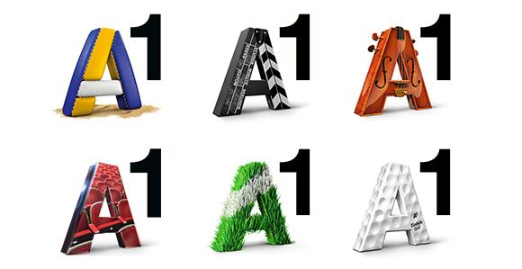 A1 Logo in unterschiedlichen Varianten – im Beachvolleayball-Design, Filmklappen-Design, Golf-Design uvm.