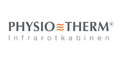 Schriftzug Physiotherm Infrarotkabinen auf weißem Hintergrund