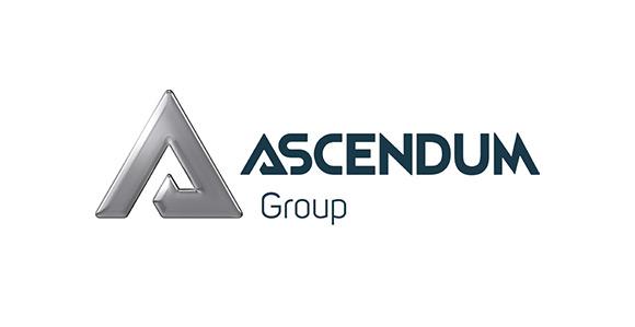 Links steht ein futuristisches, graues A; daneben Ascendum Group in blau gehalten; weißer Hintergrund