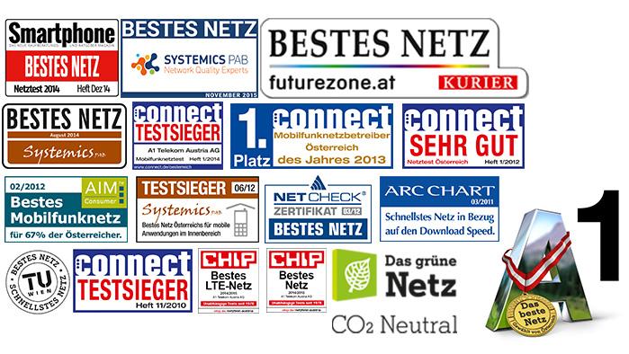 Aufzählung mit Logos aller Auszeichnungen, die das Netz von A1 bis jetzt erhalten hat