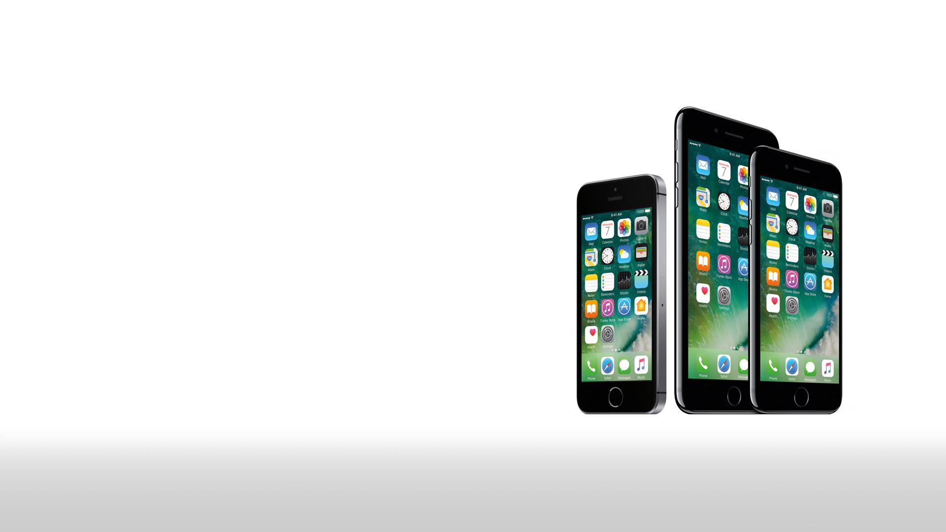 iPhone 7, SE und 6s auf weißem Hintergrund