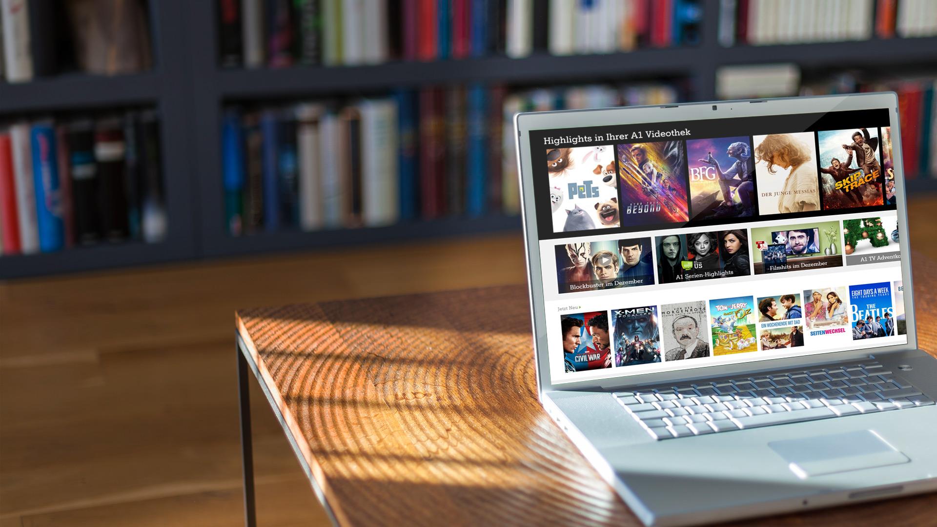 Laptop mit geöffneter A1 Videothek