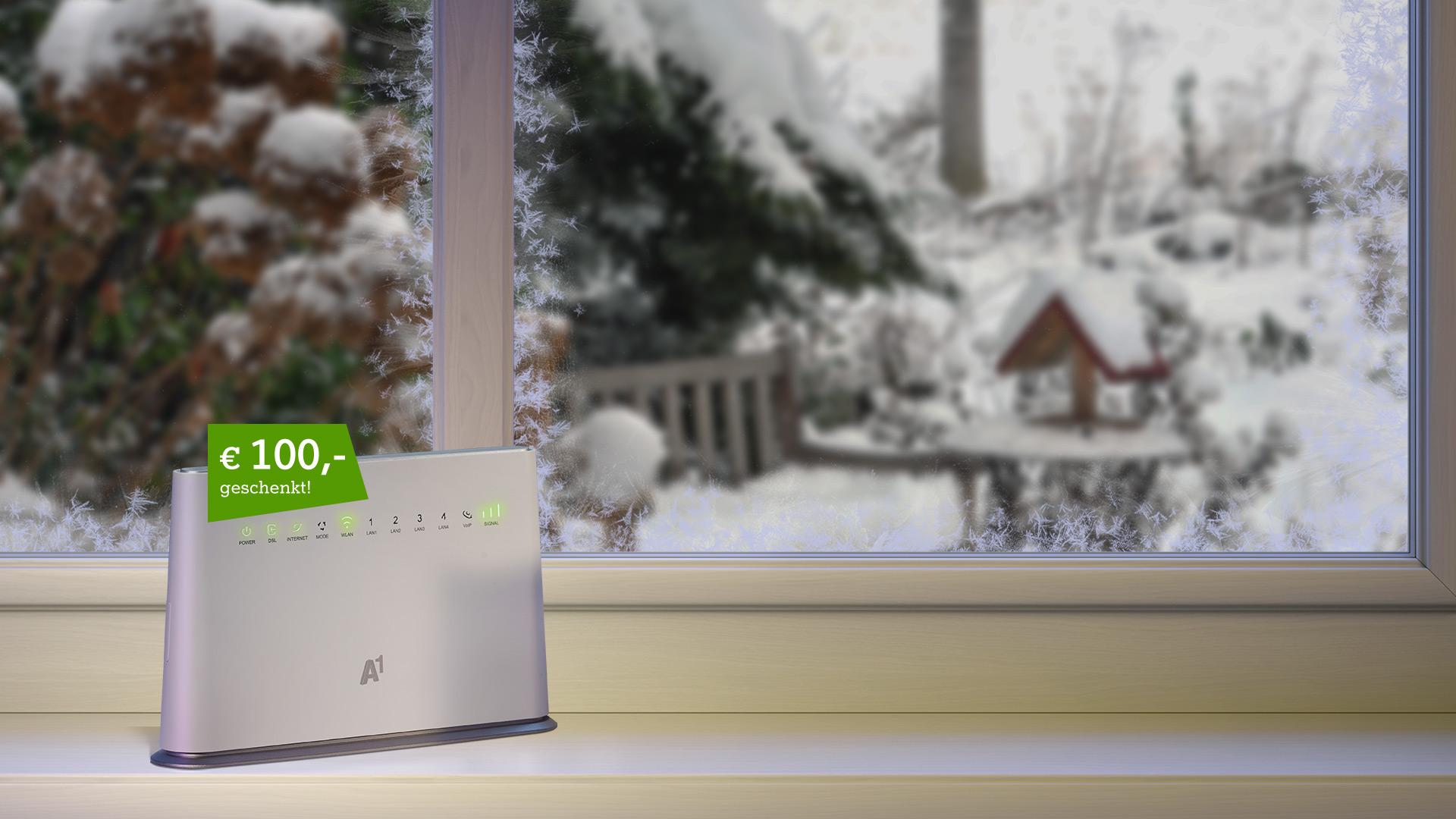 A1 Hybrid Box auf winterlichem Fensterbrett