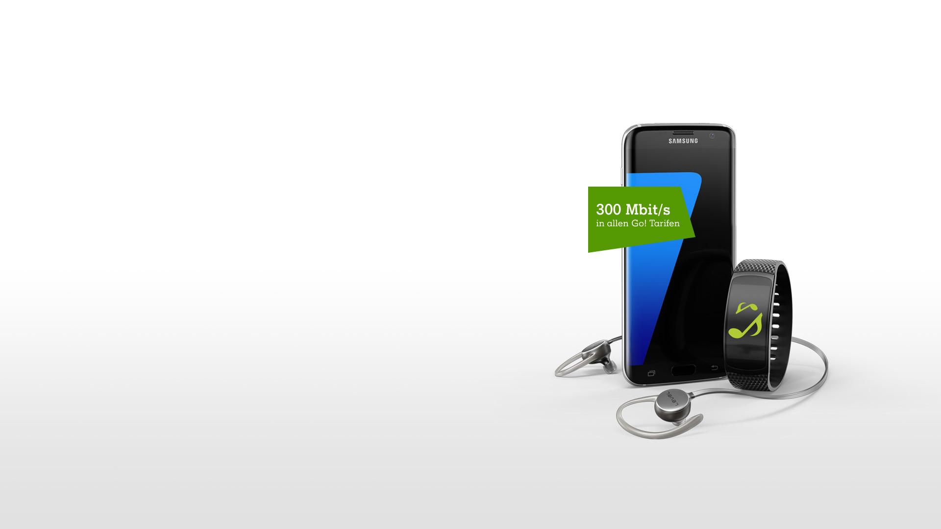 Samsung Galaxy S7 mit Gear Fit2 und Level Active Kopfhörern