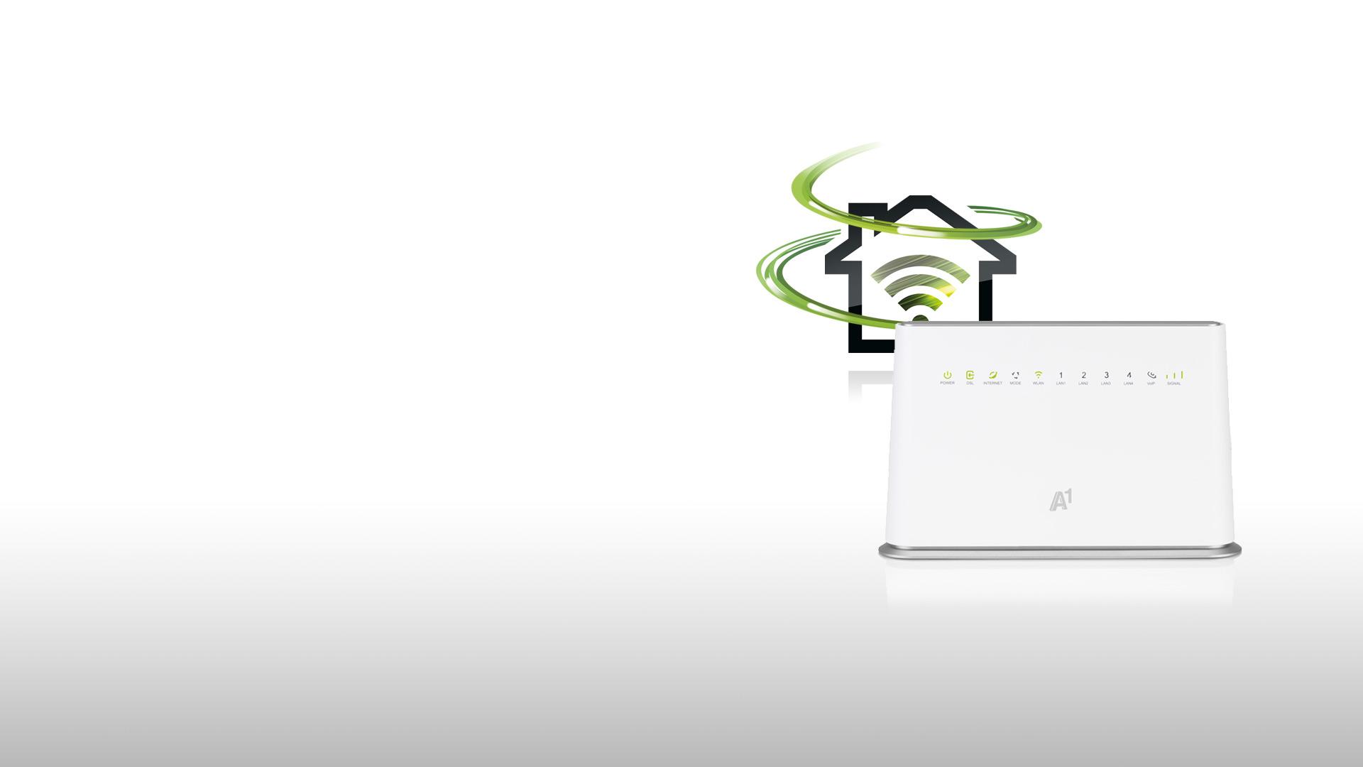 Festnetz-Internet Icon mit Hybrid-Boost Swoosh und abgebildetem Modem