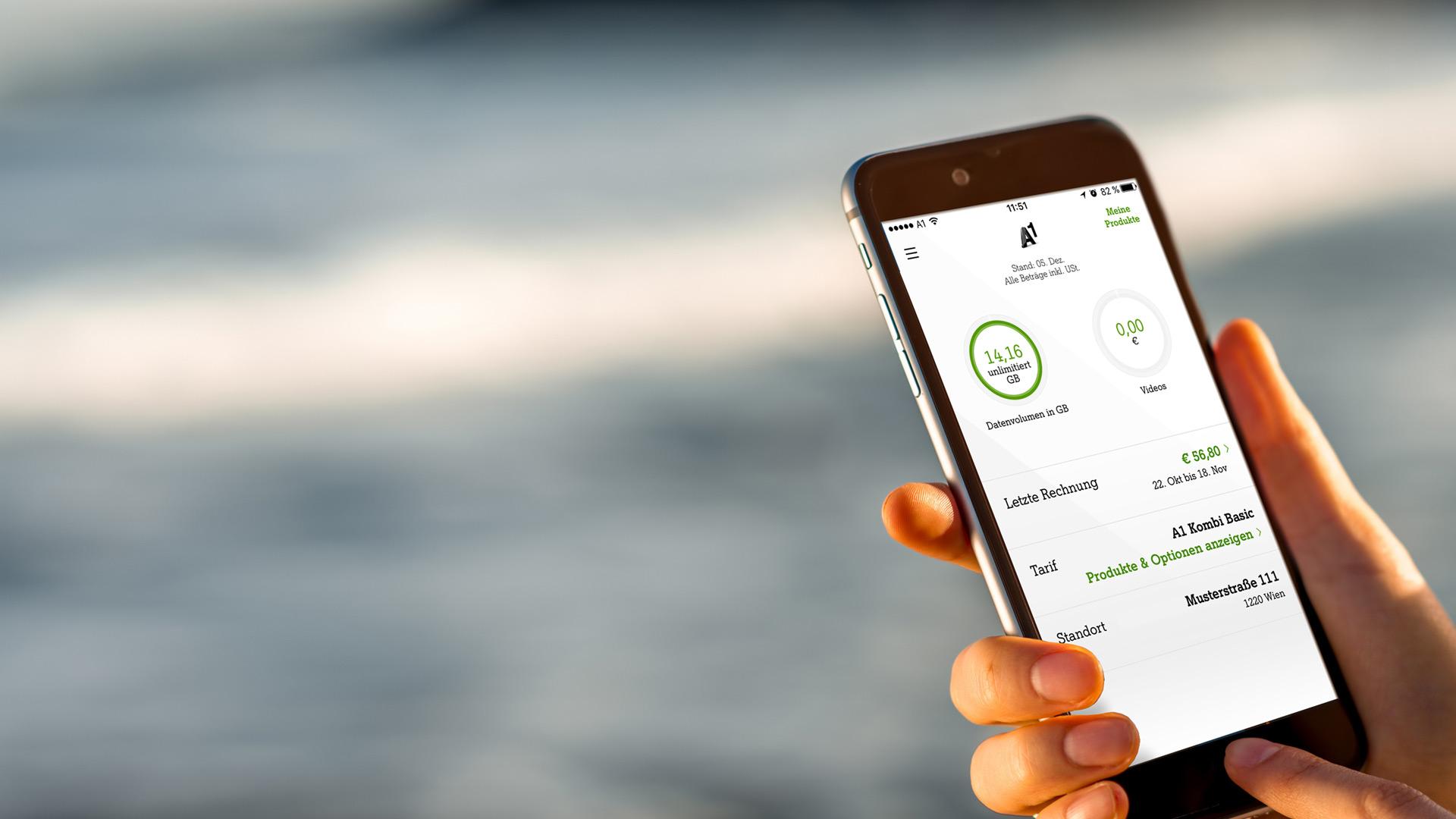 Smartphone mit geöffneter Mein A1 App