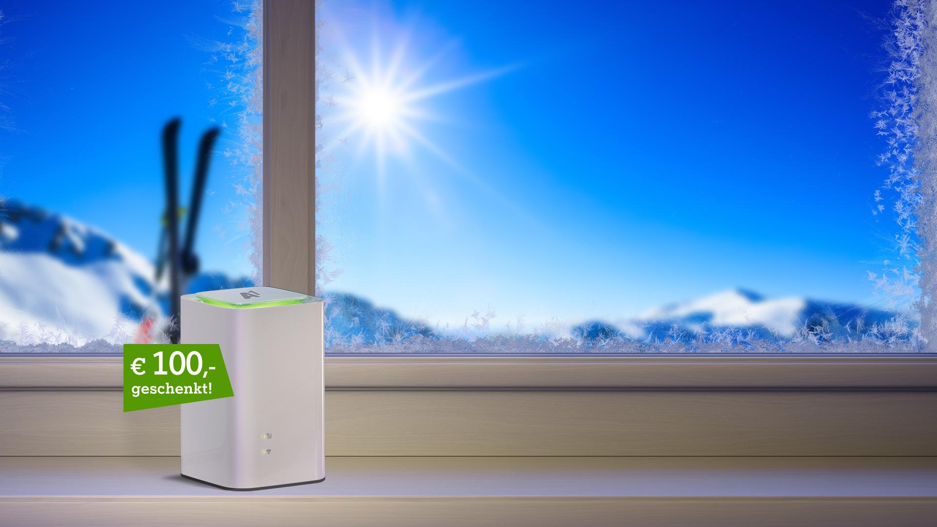 A1 Net Cube auf winterlichem Fensterbrett