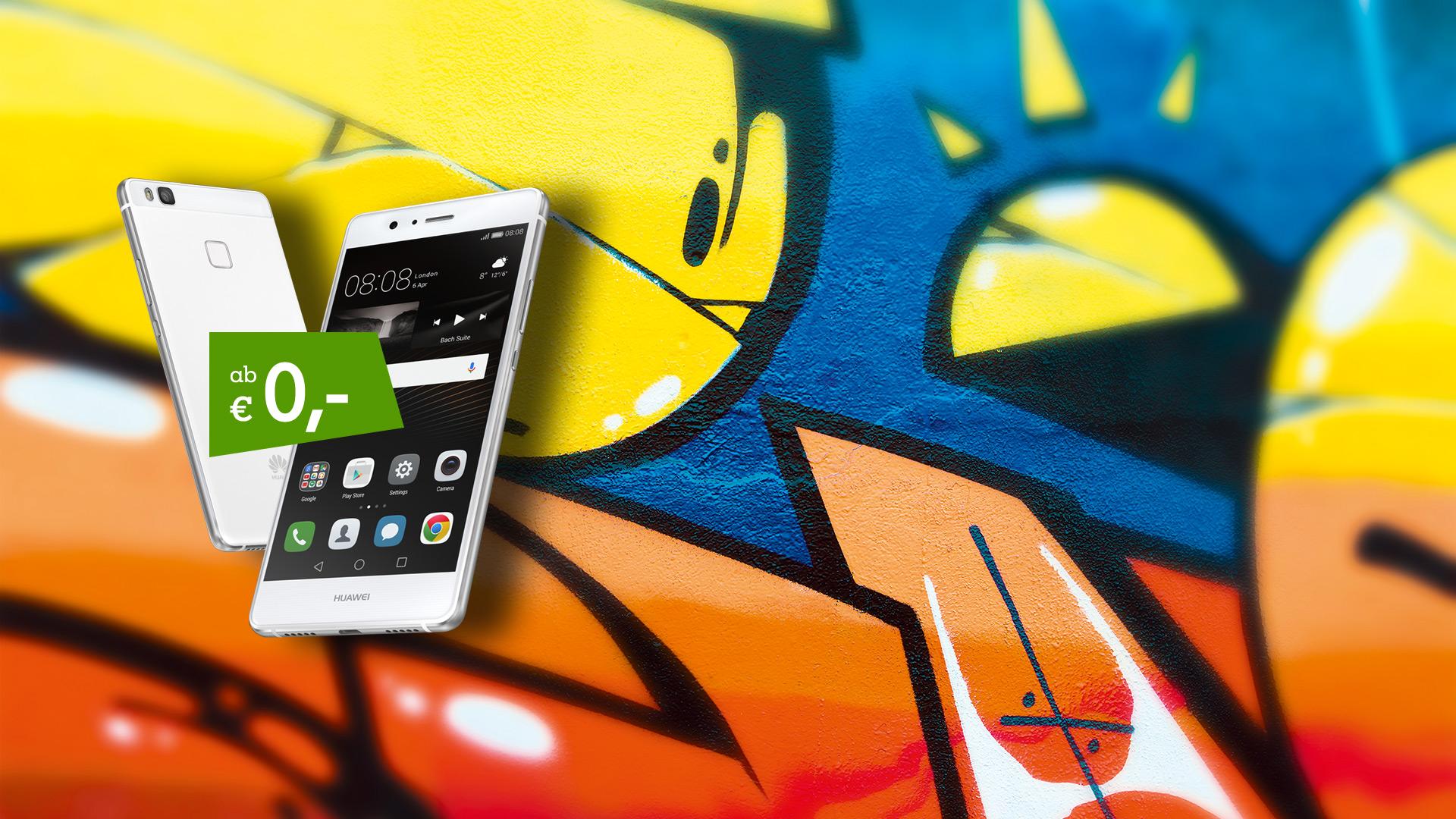 Huawei P9 Lite auf Graffiti-Hintergrund