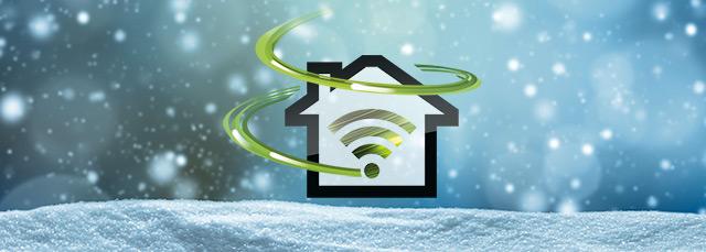 Symbol für Internet Power mit Schnee im Hintergrund